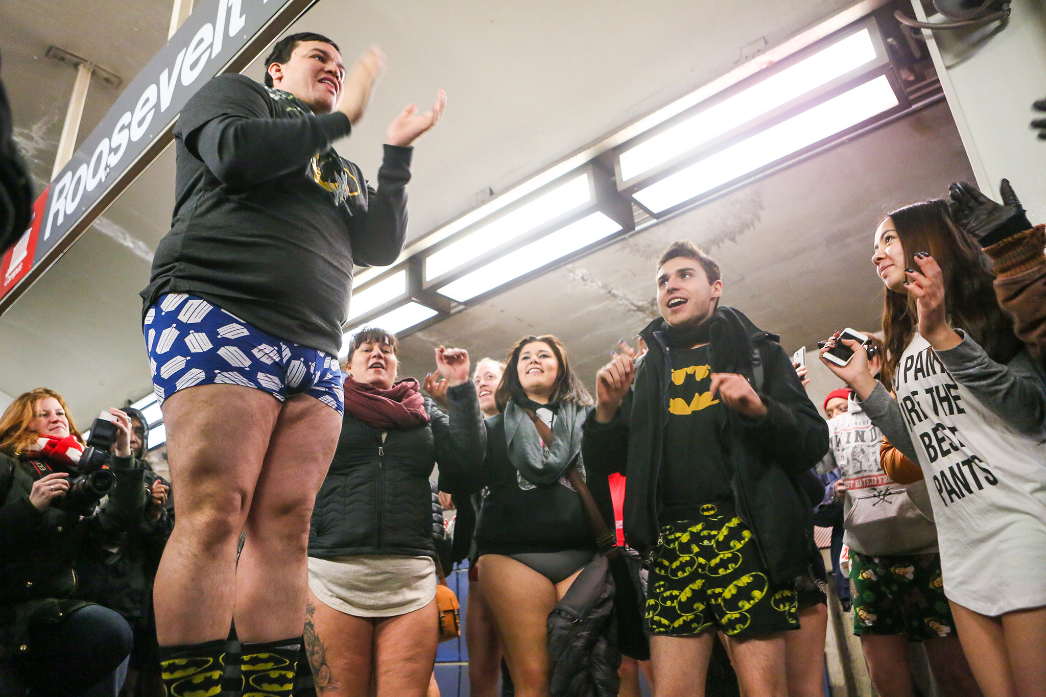 A rowdy group of stripped-down riders boarded the Red Line for the annual No Pants Subway Ride, January 11, 2015.