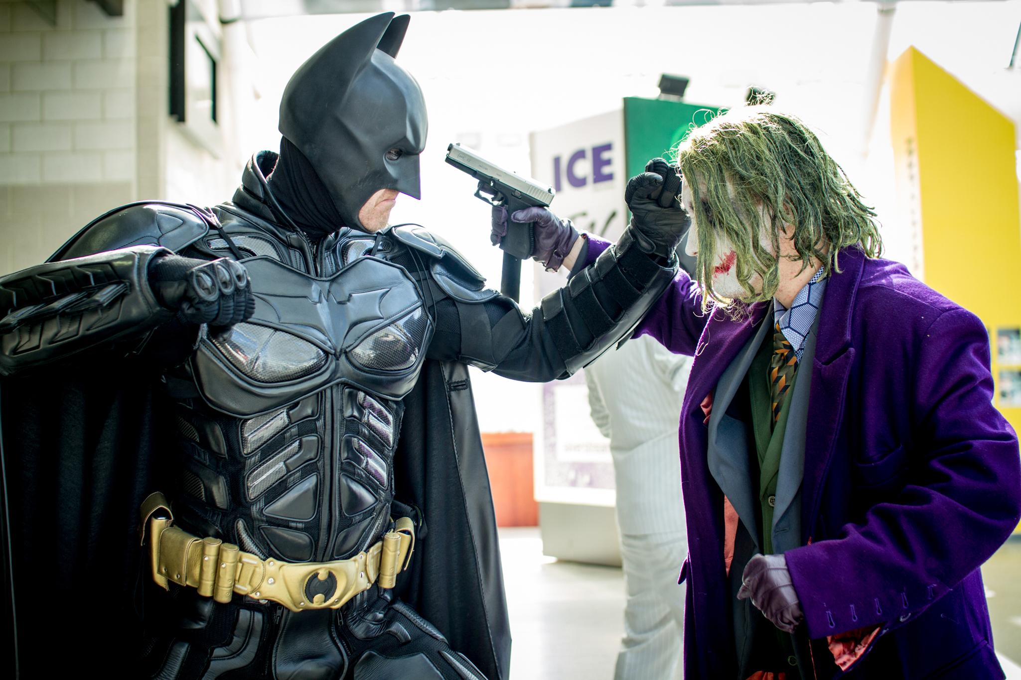 Batman and Joker cosplay at London Super Comic Convention