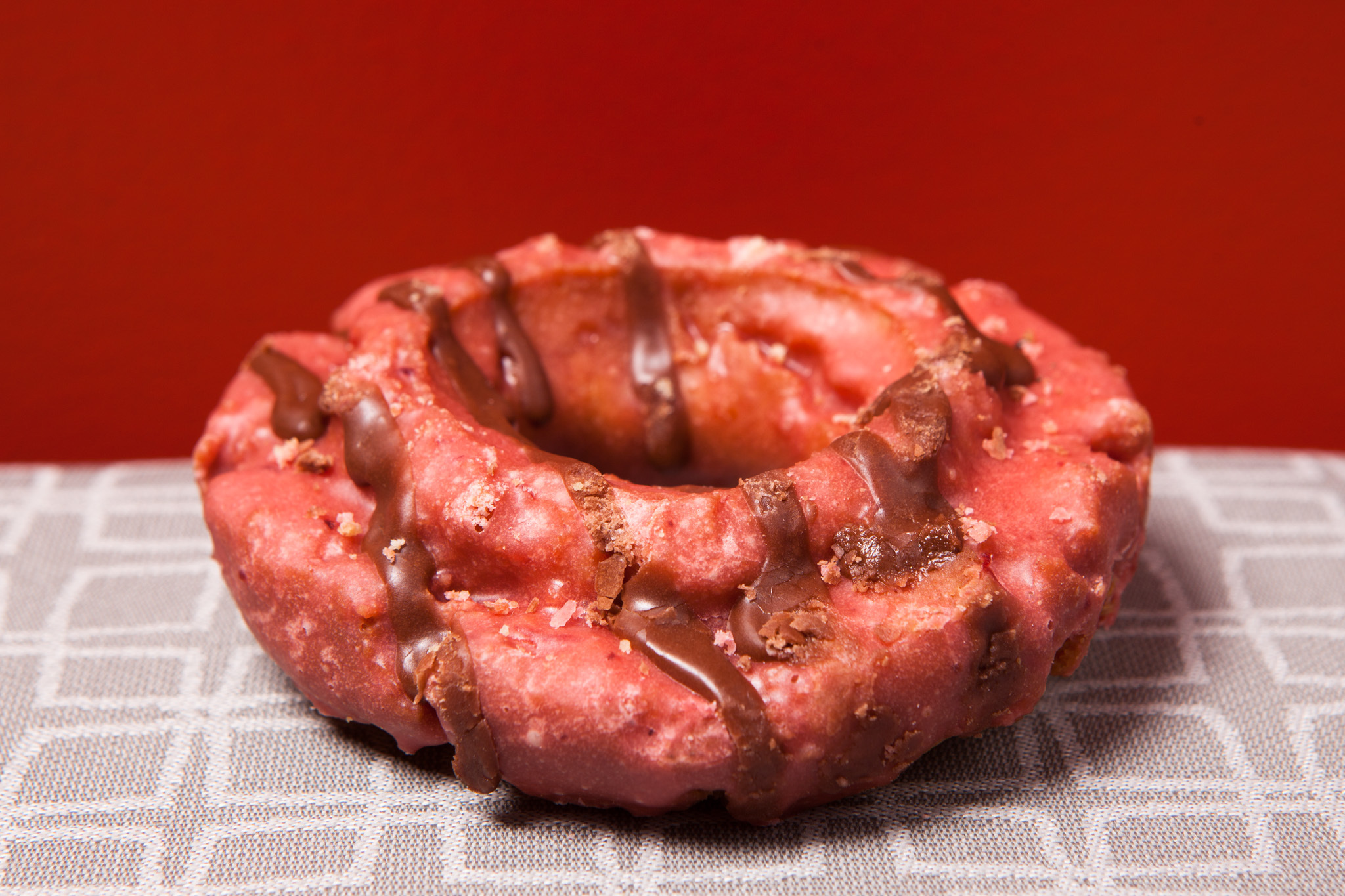 Strawberry chocolate doughnut at Doughnut Vault.
