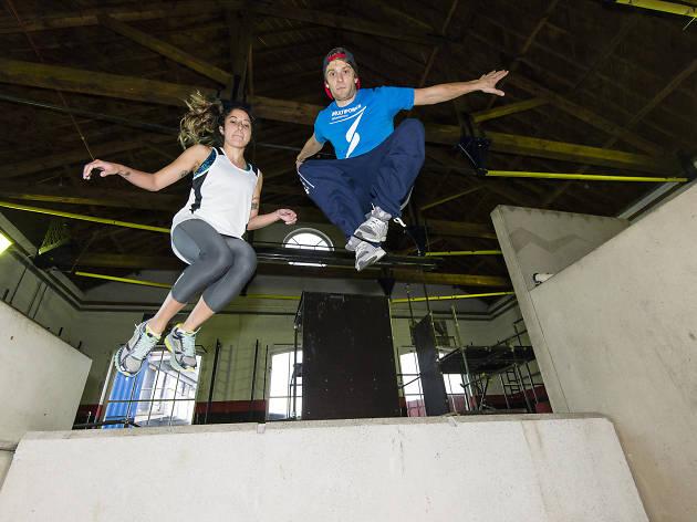 Danielle Goldstein and Kie Willis parkour lesson, Chainstore Parkour academy