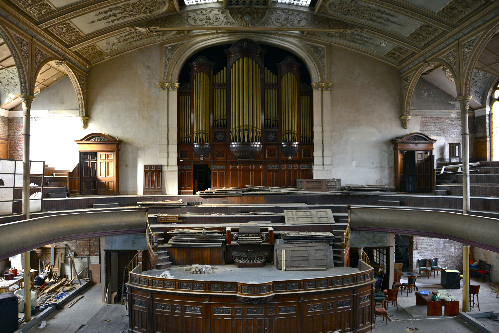 Photographs of Albert Hall in Manchester before it was renovated