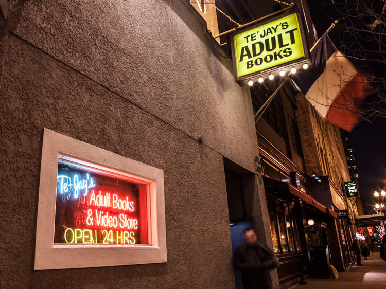Seedy sex shop in River North: Te'Jay's Adult Books