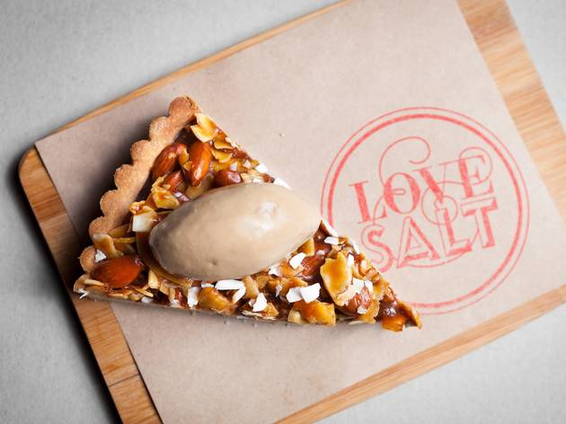 Toasted almond caramel tart at Love & Salt