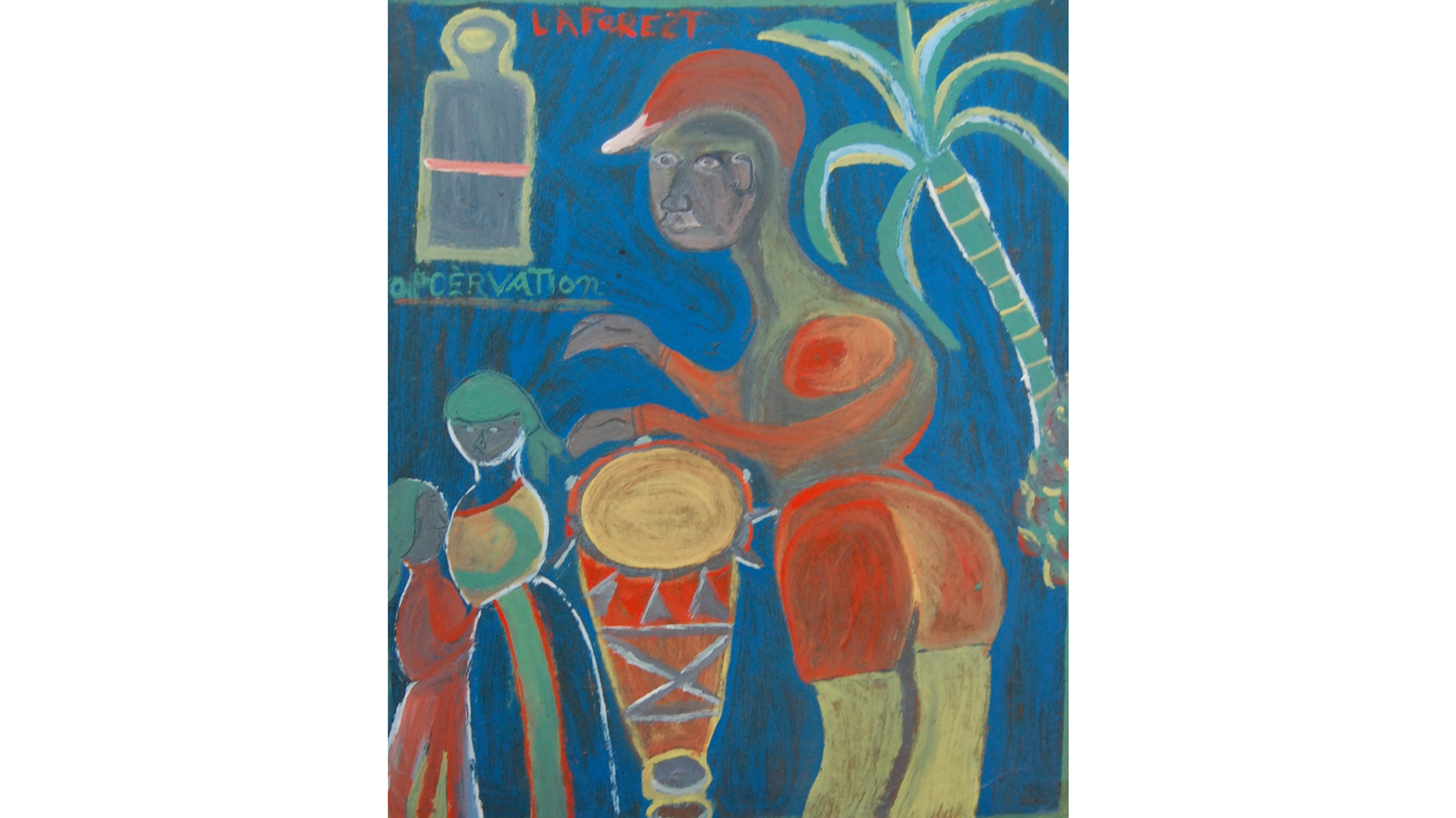 Wesner LaForest, Drumming, 1959. Oil on Masonite, 24 x 20 inches