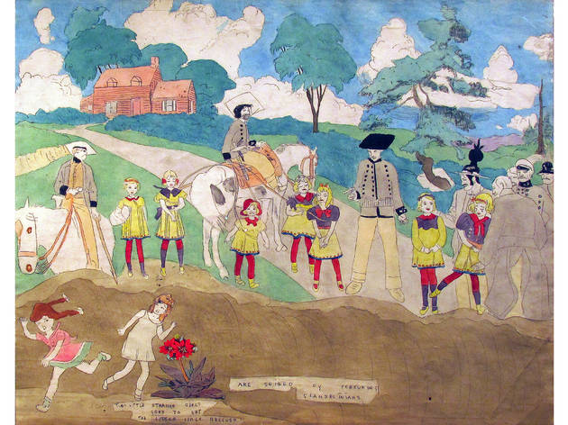 Henry Darger, Are Seized by Pursueing [sic] Glandelinians. 19 x 48 inches overall (image is detail of one panel)carbon transfer and watercolor on paper