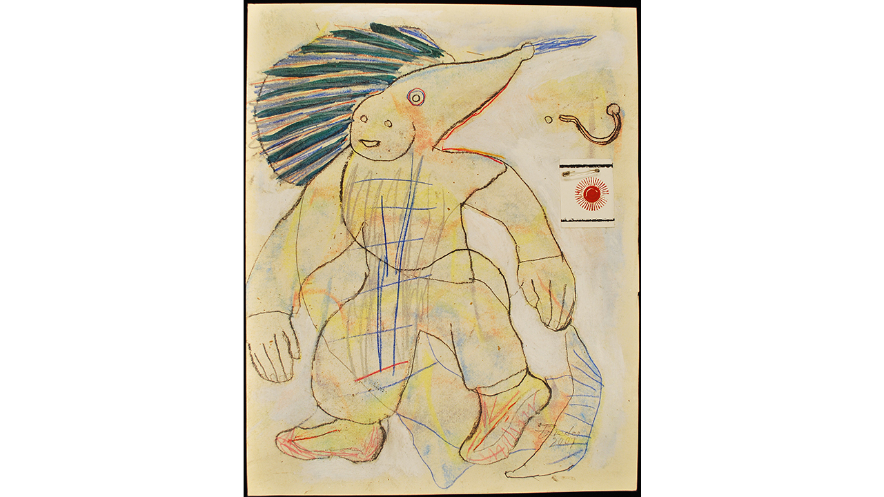 Andrew Frieder, Untitled (Fish Man), 2007. mixed media on paper16 x 20 inches