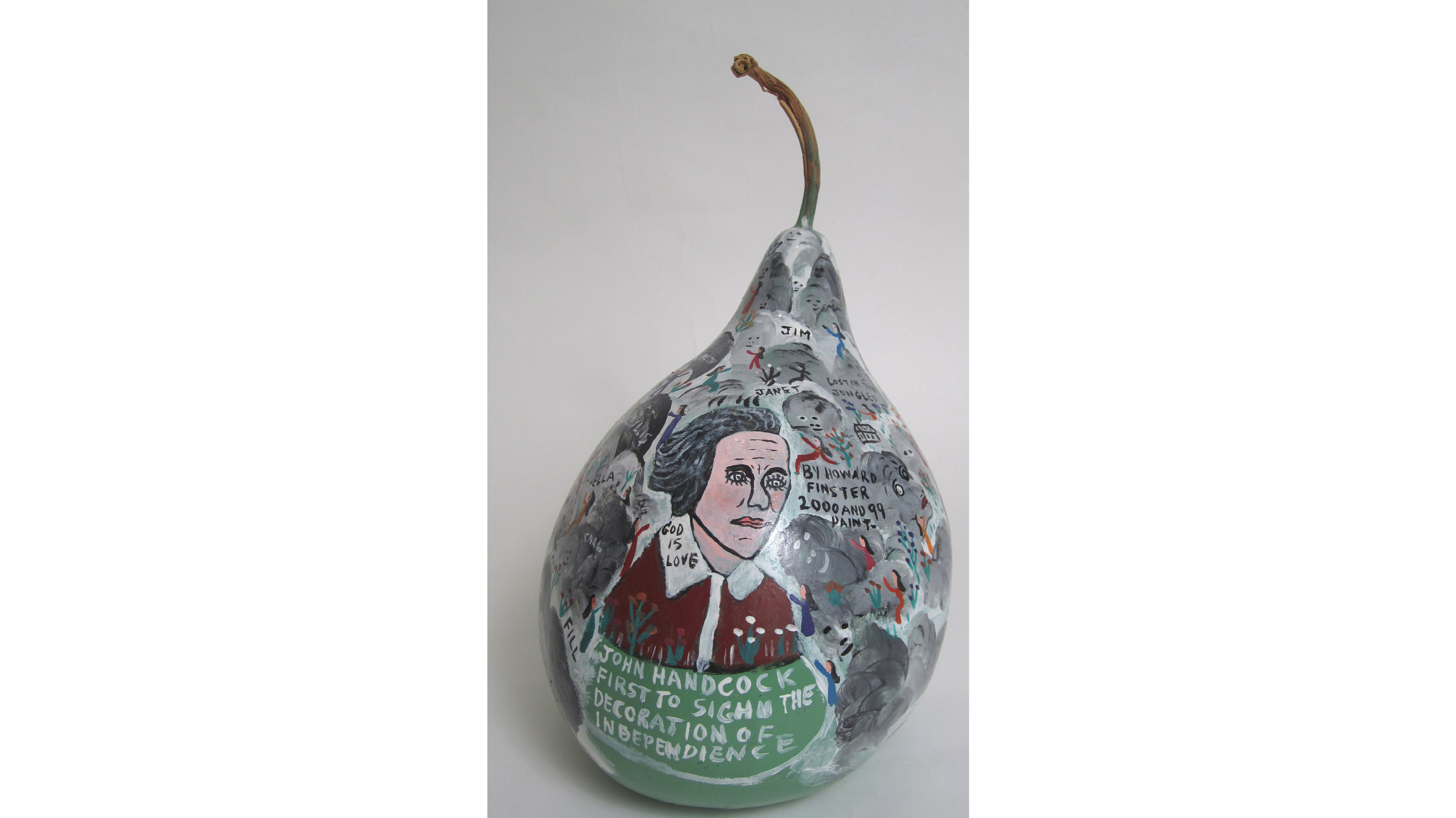 Howard Finster, I AM A Gourd, 1982. 12 x 7 inches diameter