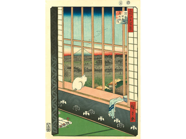 Utagawa Hiroshige (1797–1858), Asakusa Ricefields and Torinomachi Festival from the series One Hundred Famous Views of Edo, 1857. Color woodblock print; 22 ½ x 16 inches.