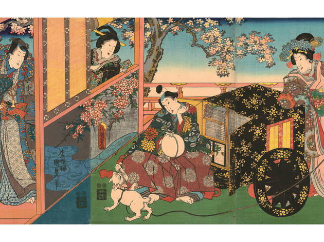 Utagawa Kunisada II (1823–1880), Kashiwagi from the series The False Murasaki's Rustic Genji, 1848–54.Color woodblock print; 22 3/8 x 36 7/8 inches.