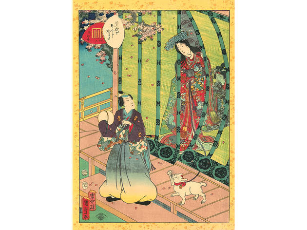 Utagawa Kunisada II (1823–1880), No. 36, Kashiwagi from the series Lady Murasaki's Genji Cards, 1857.Color woodblock print; 22 ½ x 16 inches.
