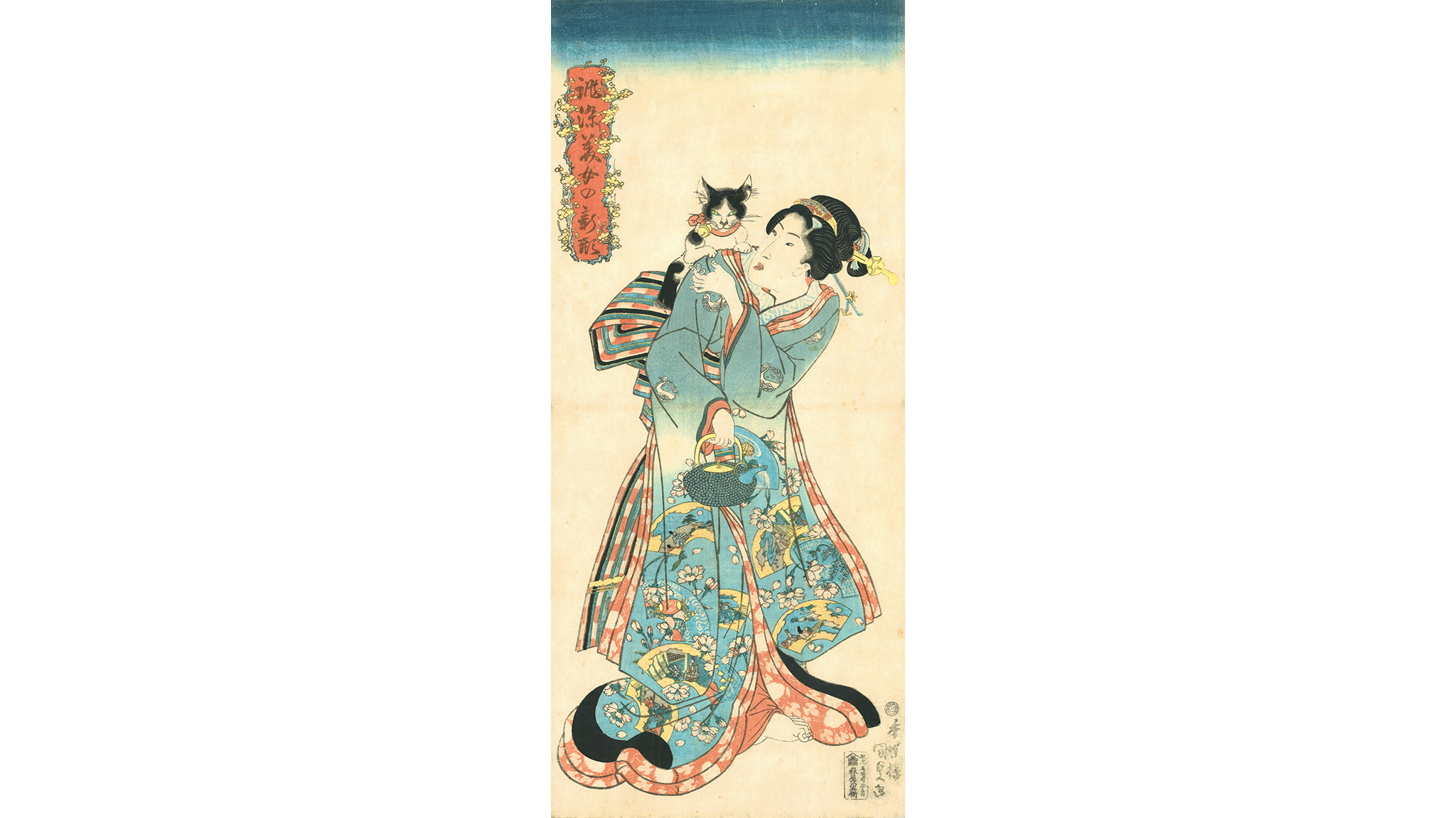 Utagawa Kunisada (1786–1864), Cat and Beauty from the series Beauties in New Styles Dyed to Order, 1818–30. Color woodblock print; 22 ½ x 16 inches.