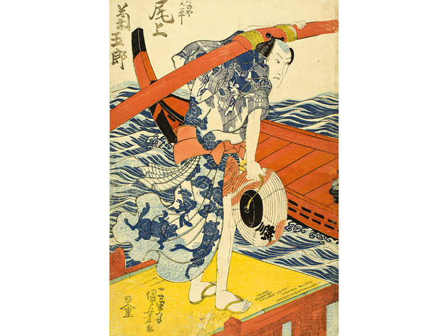 Utagawa Kunisada (1786–1864), The Actor Onoe Kikugorō III as Kayanoya Kanpei, 1833. Color woodblock print; 22 ½ x 16 inches.