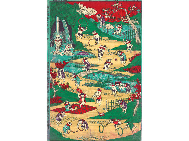 Utagawa Kunitoshi (1847–1899), Newly Published Cat's Games, 1884. Color woodblock print; 13 ½ x 9 inches.