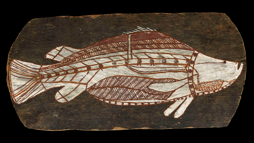 (Bark painting of a barramundi. Western Arnhem Land, about 1961. © The Trustees of the British Museum)