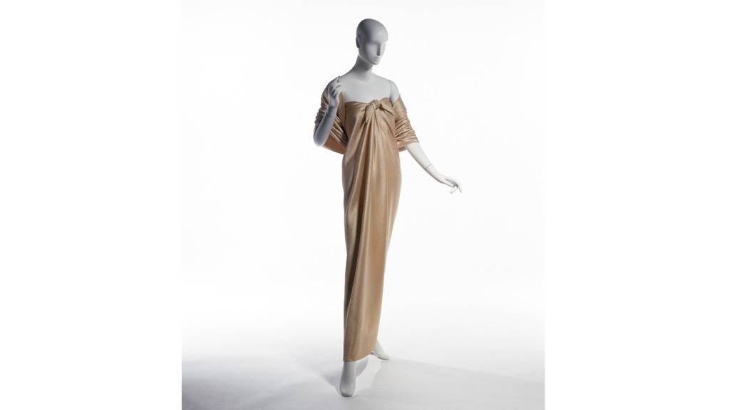 "Halston, ""sarong"" dress and stole, gold hammered silk satin, 1976,USA, The Museum at FIT 82.3.9, Gift of Frederick Supper."
