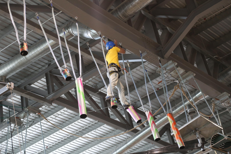 Zip Line Harness >> Inside District 21 indoor theme park