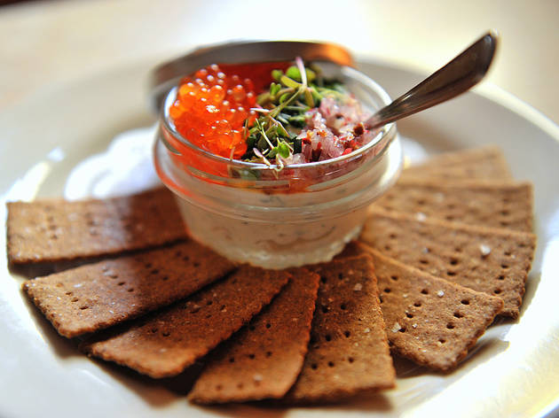 Smoked-fish spread and rye crackers at the Long Island Bar