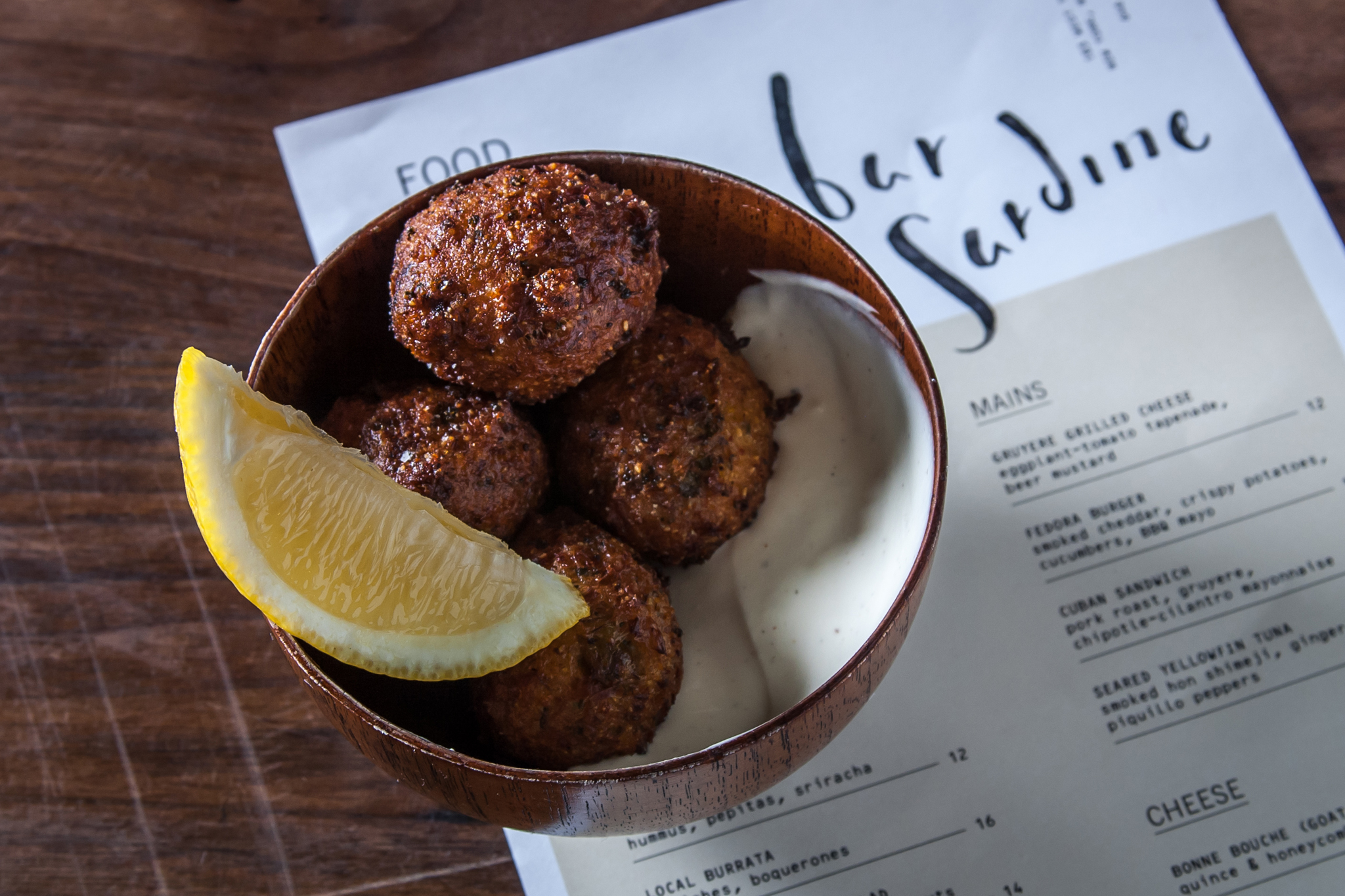 Octopus hush puppies at Bar Sardine