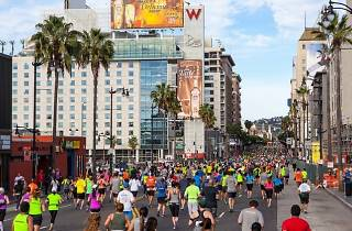 Runners fill the streets of Hollywood at last year's 2014 LA Marathon