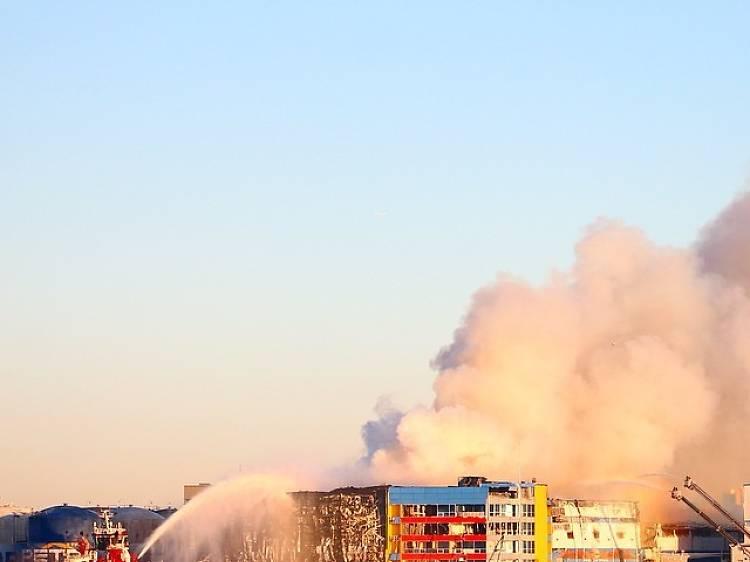 See photos of the still-smoldering 7-alarm Williamsburg fire