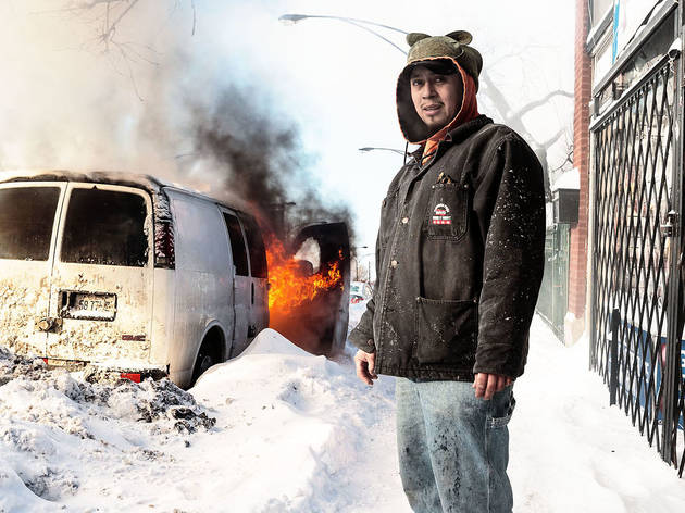 Chicago photographer Saverio Truglia photographs people outside during the Polar Vortex 2014.