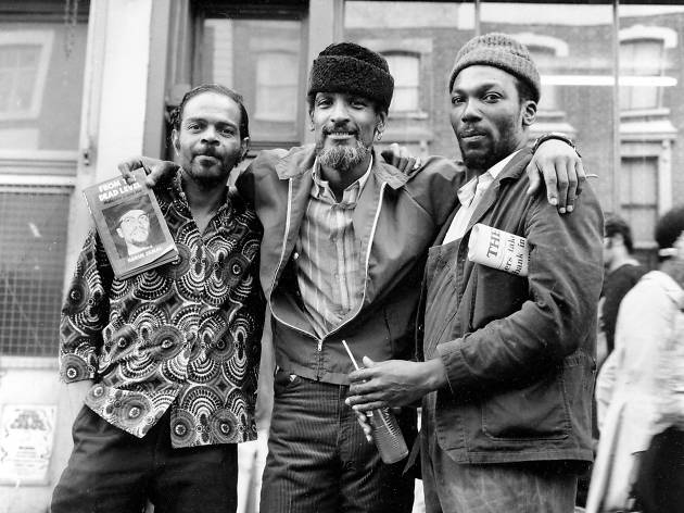 Black Panther Hakim Jamal (centre) on the Portobello Road, 1971