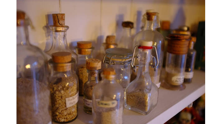 Collections, bottles of sand