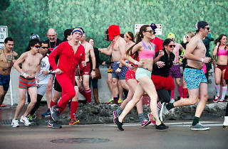 Runners streaked through Wrigleyville in their undergarments during Cupid's Undie Run, February 7, 2015.