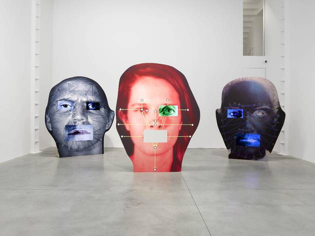 (Tony Oursler, Installation of 'PIX', 'COG' and 'COG', 2014. © the artist; Courtesy, Lisson Gallery, London)