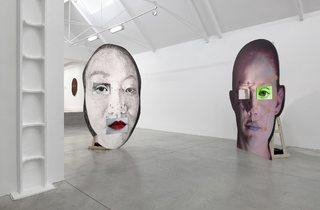 (Tony Oursler, Installation of 'ANO' and 'VIE', 2014. © the artist; Courtesy, Lisson Gallery, London)