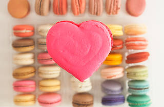 Heart-shaped macaron from La Boulangerie