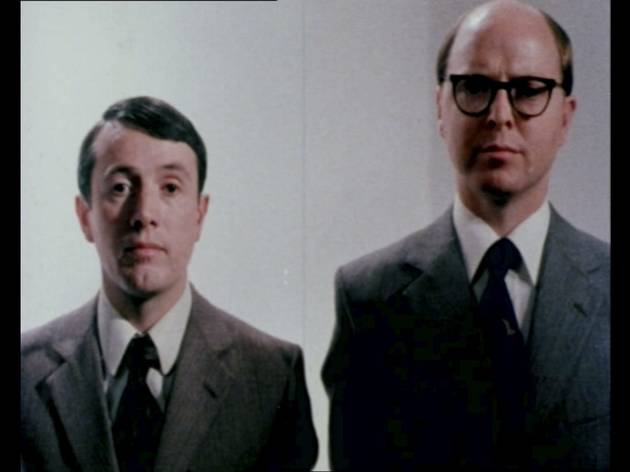 (Gilbert and George: still from 'The World of Gilbert & George', 1981, © the artists, 2014. Part of John Akomfrah's display)
