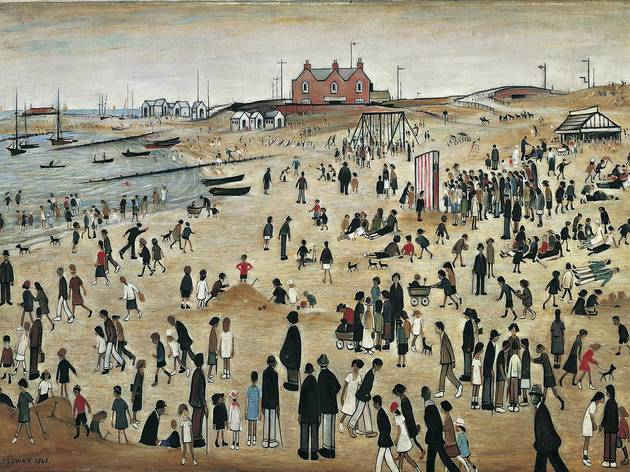 (LS Lowry: 'July, the Seaside', 1943. © the estate of L. S. Lowry.   All rights reserved, DACS 2014. Part of Richard Wentworth's display)