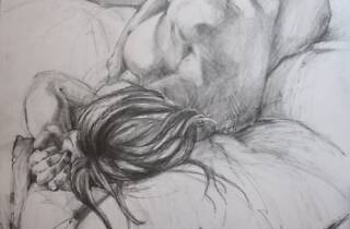 Recumbent Figure, graphite on paper