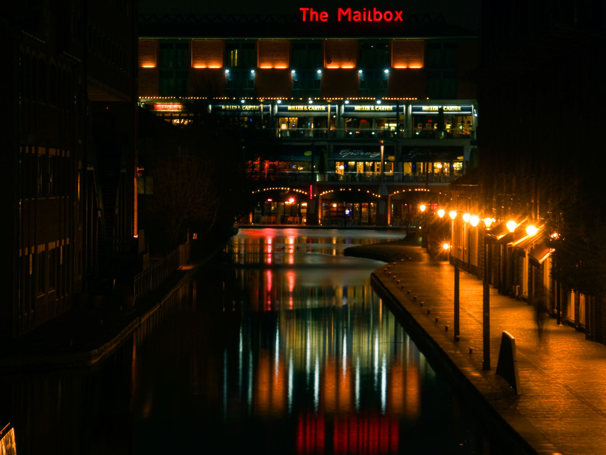 The Mailbox at night