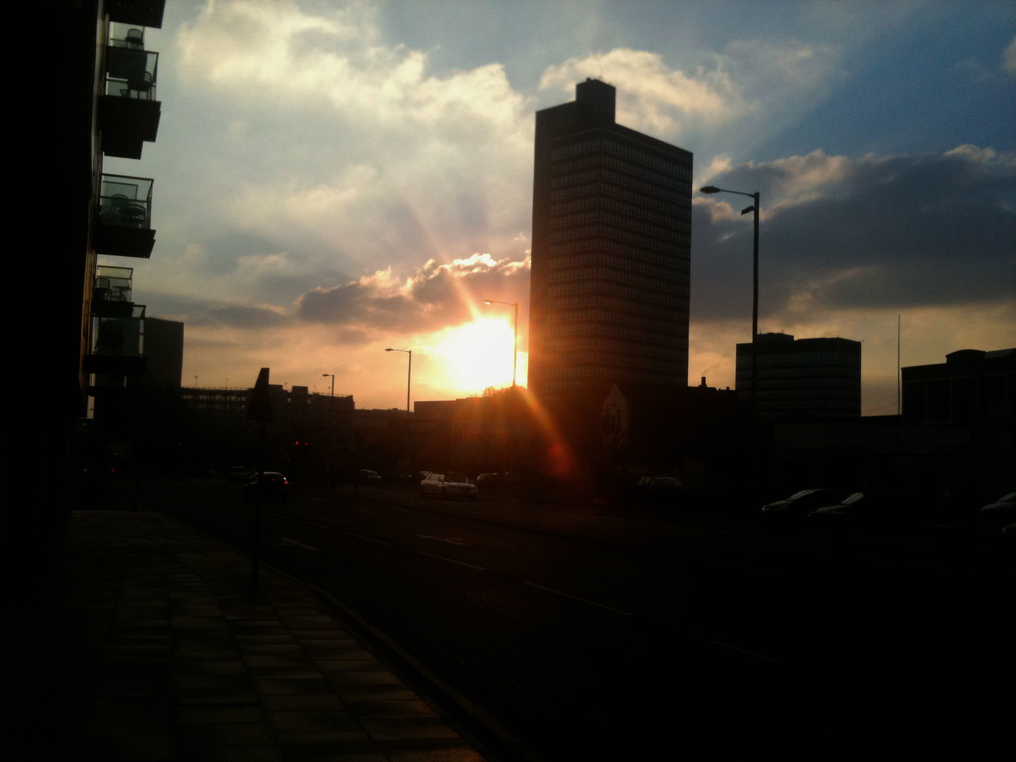 Photo of the Manchester skyline in Shudehill at sunset