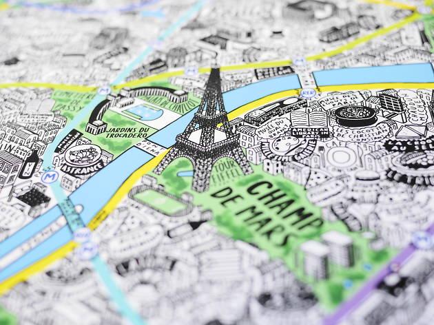 Carte plan Paris dessiné à la main
