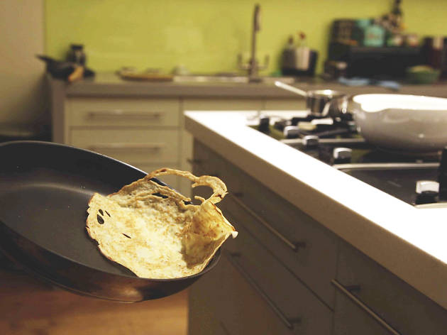 10. If you're feeling adventurous, forget the spatula flip and toss the pancake instead