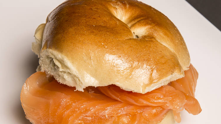 Smoked salmon and cream cheese bagel at Brick Lane Beigel Bake
