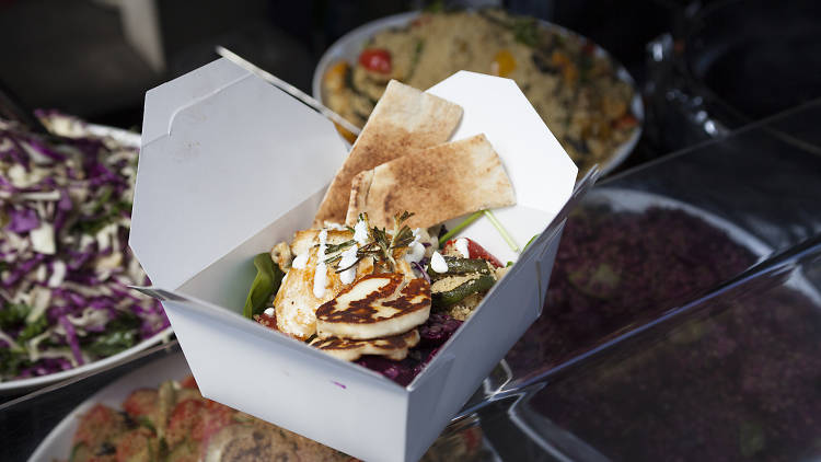 Box of salad from Savage Salads at Berwick Street Market