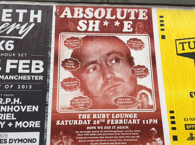Poster for club night with image of Phil Collins