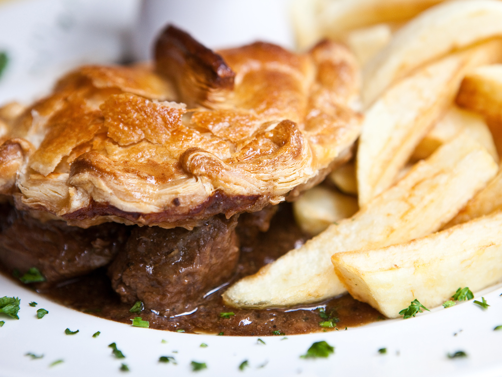 Steak and ale pie at Golden Union Fish Bar