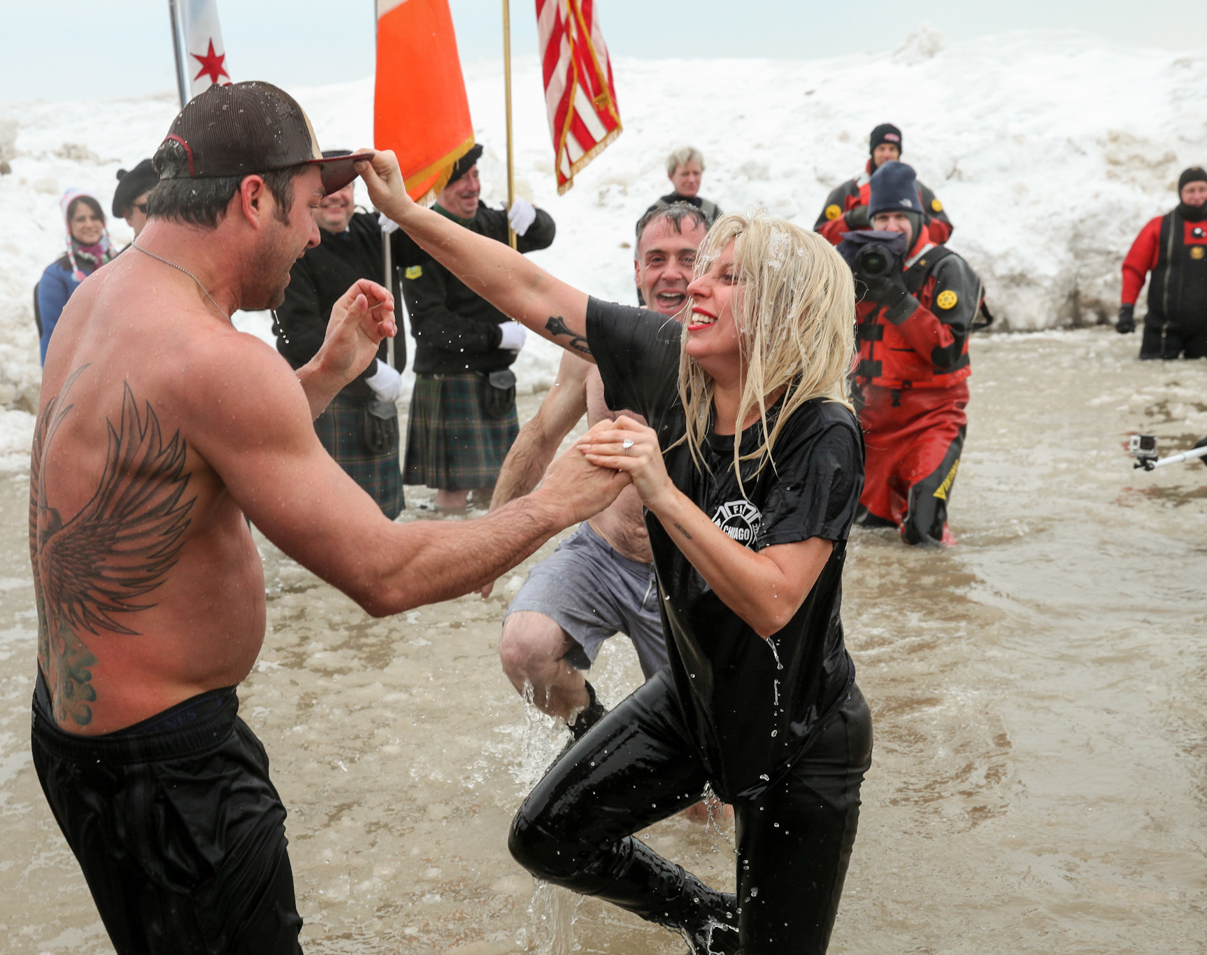 Photos: Lady Gaga and Vince Vaughn at the Polar Plunge