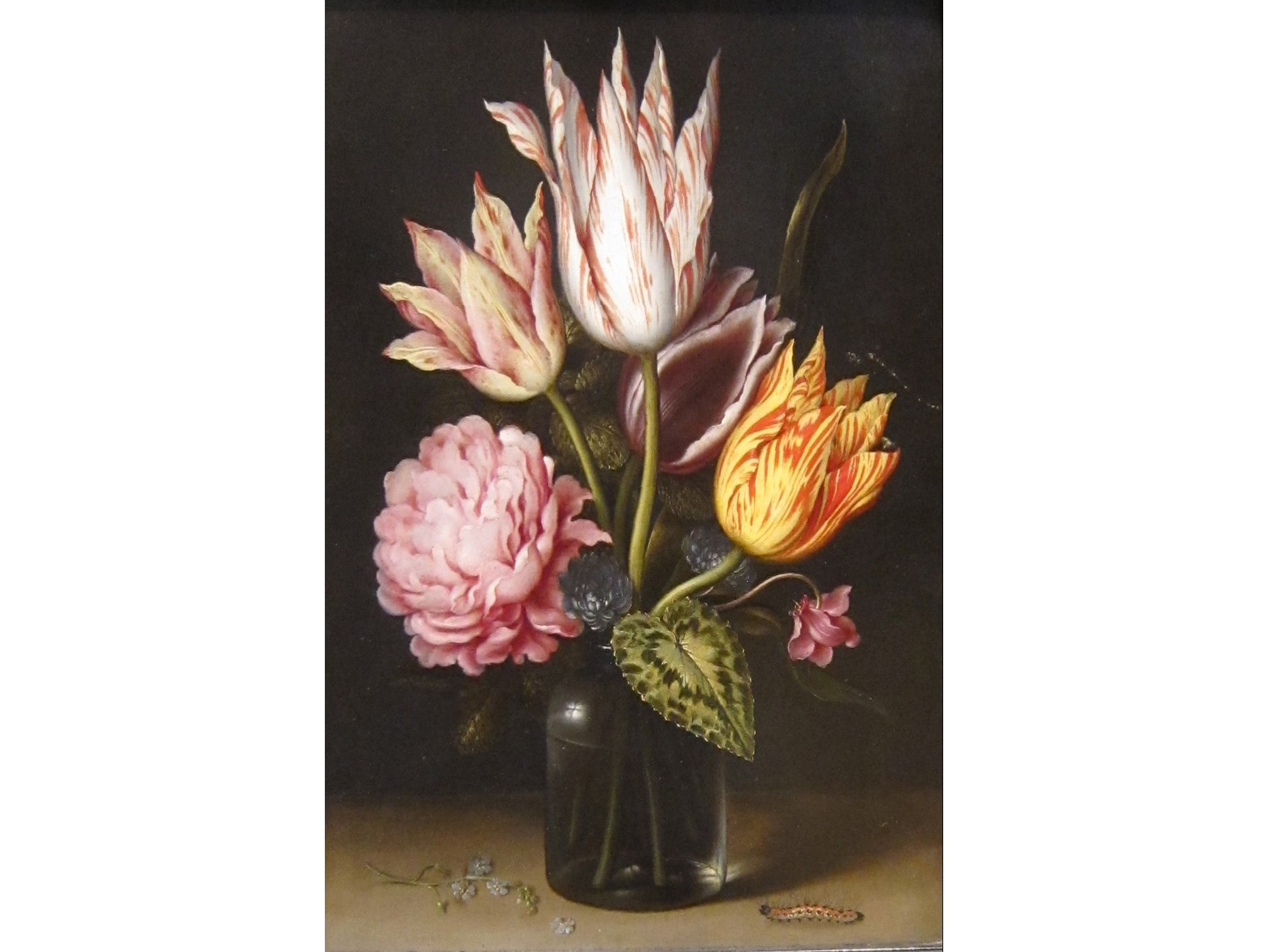 Still Life with Bouquet of Tulips, a Rose, Clover and Cyclamen in a Green Glass Bottle (1609), Ambrosius Bosschaert