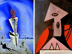 L: Dalí's 'Apparatus and Hand' (1927); R: Picasso's 'Woman in a Red Chair' (1929)