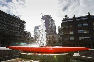 (Roman Signer: 'Kayak with Fountain' at the Barbican. Photo: Tristan Fewings/Getty Images)
