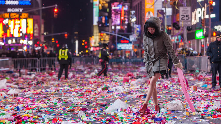 January 1, 2015, The aftermath of New Years Eve in Times Square.