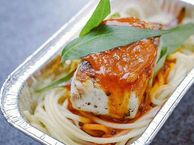 Kerbside Gourmet - Barramundi curry pasta