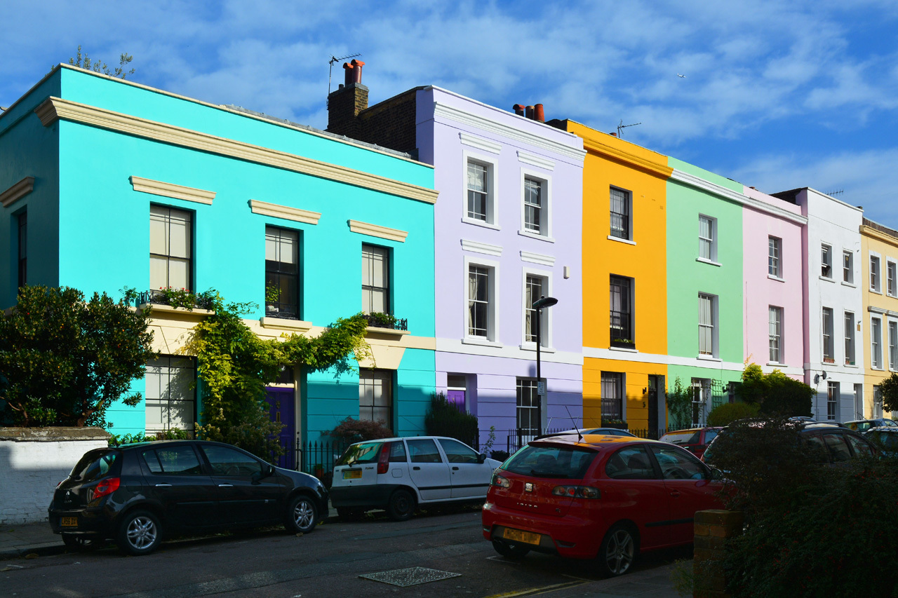 Colourful houses on Falkland Road, London, NW5.