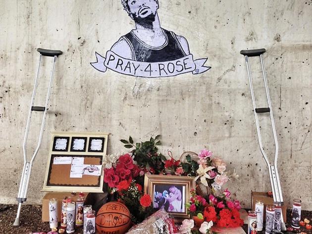 Hilarious Derrick Rose vigil appears beneath I-90